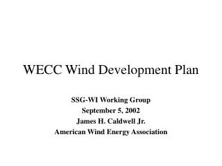 WECC Wind Development Plan