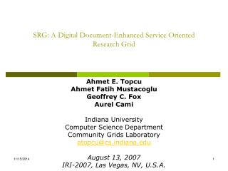 SRG: A Digital Document-Enhanced Service Oriented Research Grid