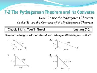 7-2 The Pythagorean Theorem and Its Converse