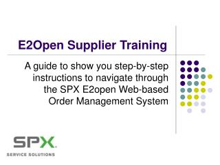 E2Open Supplier Training
