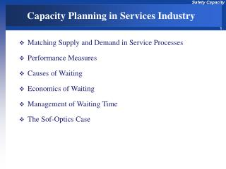 Capacity Planning in Services Industry