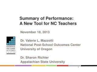 Summary of Performance:  A New Tool for NC Teachers
