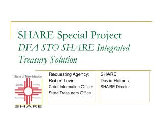 SHARE Special Project DFA STO SHARE Integrated Treasury Solution