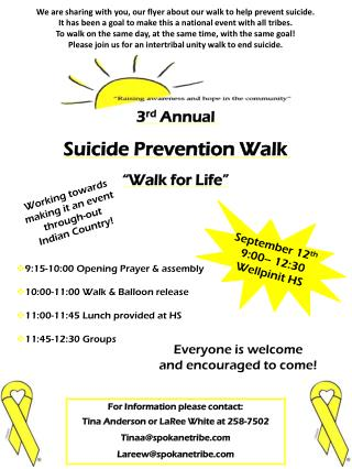 "3 rd  Annual Suicide Prevention Walk ""Walk for Life"""
