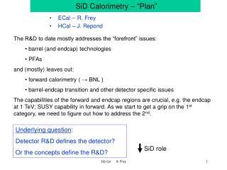 """SiD Calorimetry – """"Plan"""""""