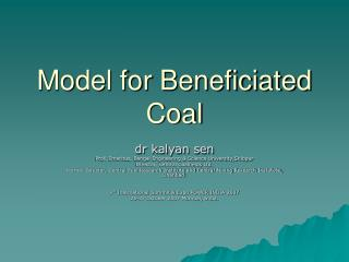 Model for Beneficiated Coal