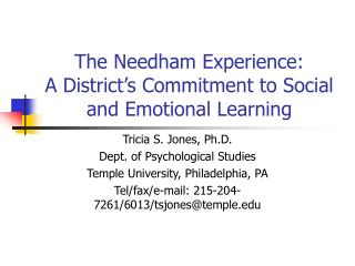 The Needham Experience: A District's Commitment to Social and Emotional Learning