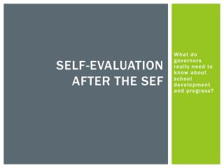 Self-evaluation  after the  sef