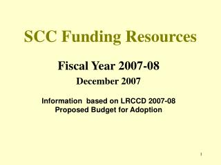 SCC Funding Resources