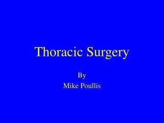 Thoracic Surgery