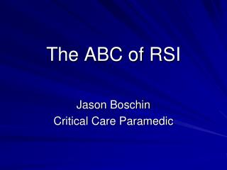 The ABC of RSI
