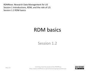 RDM basics