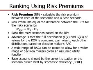 Ranking Using Risk Premiums