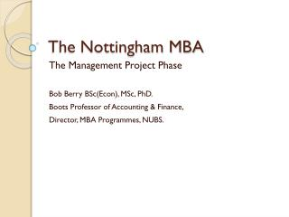 The Nottingham MBA