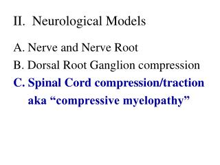 II.  Neurological Models