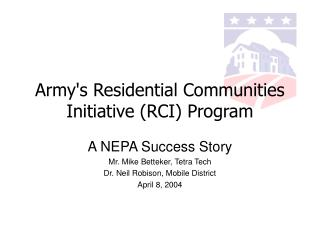 Army's Residential Communities Initiative (RCI) Program