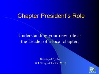 Chapter President's Role