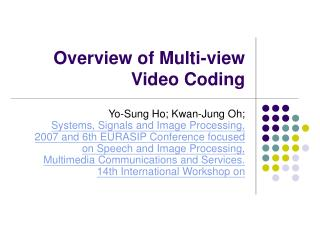 Overview of Multi-view Video Coding