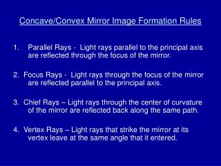 Concave/Convex Mirror Image Formation Rules