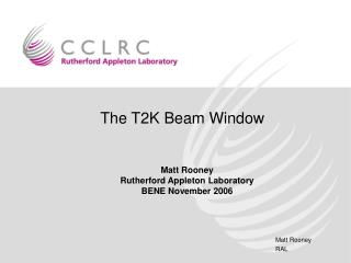 The T2K Beam Window
