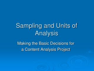 Sampling and Units of Analysis