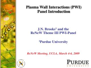 Plasma Wall Interactions (PWI) Panel Introduction