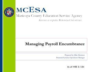 Managing  Payroll Encumbrance