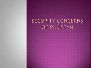 Security Concerns of Pakistan