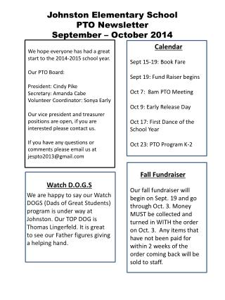 Johnston Elementary School PTO Newsletter September – October 2014