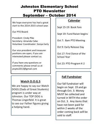 Johnston Elementary School PTO Newsletter September – October 2014