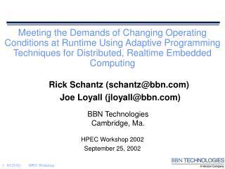 HPEC Workshop 2002 September 25, 2002