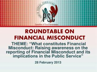 ROUNDTABLE ON  FINANCIAL MISCONDUCT