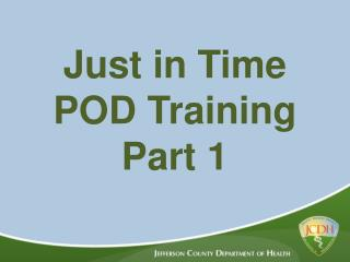 Just in Time POD Training Part 1