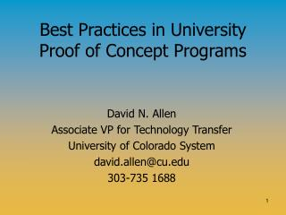 Best Practices in University Proof of Concept Programs