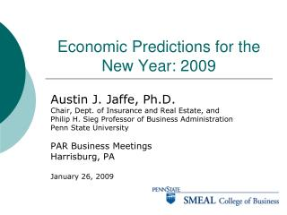 Economic Predictions for the New Year: 2009