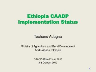 Ethiopia  CAADP Implementation Status