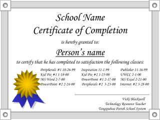 School Name Certificate of Completion