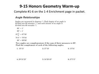 9-15  Honors Geometry Warm-up