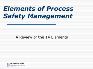 Elements of Process Safety Management