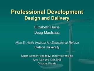 Professional Development Design and Delivery