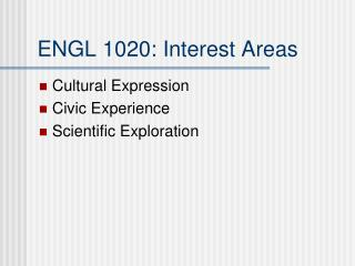 ENGL 1020: Interest Areas