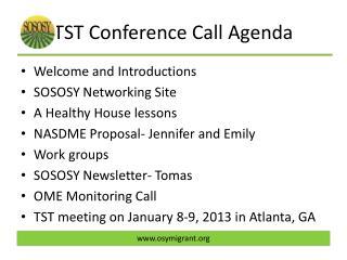 TST Conference Call Agenda