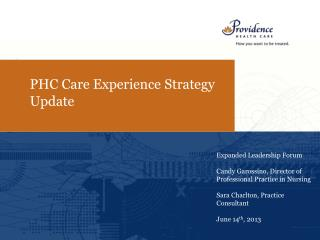 PHC Care Experience Strategy Update