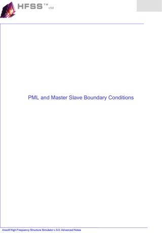 PML and Master Slave Boundary Conditions