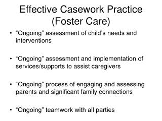 Effective Casework Practice Foster Care