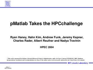 PMatlab Takes the HPCchallenge