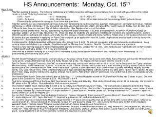 HS Announcements:  Monday, Oct. 15 th