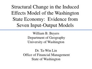 William B. Beyers  Department of Geography University of Washington Dr. Ta-Win Lin