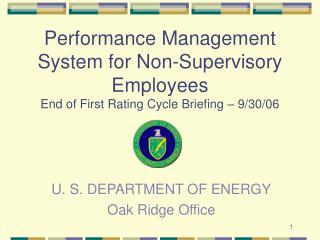 U. S. DEPARTMENT OF ENERGY Oak Ridge Office