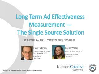 Long  Term Ad Effectiveness  Measurement --- T he  Single Source Solution